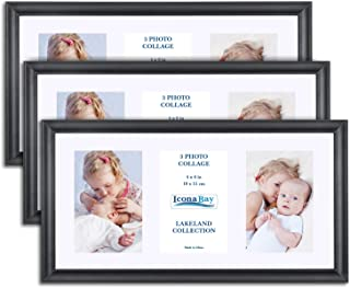 Icona Bay 8x16 Picture Frames Collage with Mat Displays Three 4x6 Photos (3 Pack), Black Frame, Wood Finish Frame, Photo Collage Frames for Walls or Table, Mat 4x6 Included, Lakeland Collection