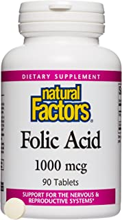 Natural Factors - Folic Acid 1000mcg, Support for the Nervous & Reproductive Systems, 90 Tablets