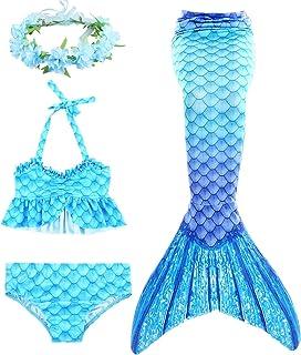 Fanessy Cola de Sirena Niña para Nadar Incluido Traje de Sirena Baño de Bikini de 3 Piezas y Diadema con Guirnaldas de Flo...