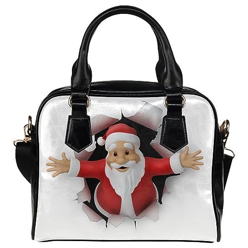 CASECOCO 3D Santa Claus Christmas Womens PU Leather Purse Handbag Shoulder Bag