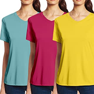 Pooplu Womens V Neck 3 Pack of ComboHalf Sleeves Cotton Printed Turquoise,Dark Pink,Yellow T Shirt