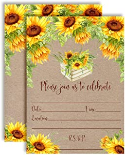 Rustic Fall Watercolor Sunflowers Party Invitations, 20 5