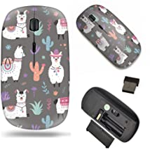 Unique Pattern Optical Mice Mobile Wireless Mouse 2.4G Portable for Notebook, PC, Laptop, Computer - Cartoon Llama Alpaca ...