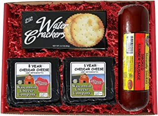Wisconsin Deluxe Elite Aged Cheddar Cheese, Sausage & Cracker Gift