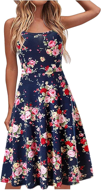 NLLSHGJ Boho Dresses for Women 2021 Women's Fashion Casual V-Neck Short Sleeve Strap Open Back Sexy Print Dress