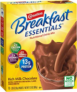 Carnation Breakfast Essentials Powder Drink Mix, Rich Milk Chocolate, 10 Count Box of 1.26 Ounce Packets (Pack of 6)