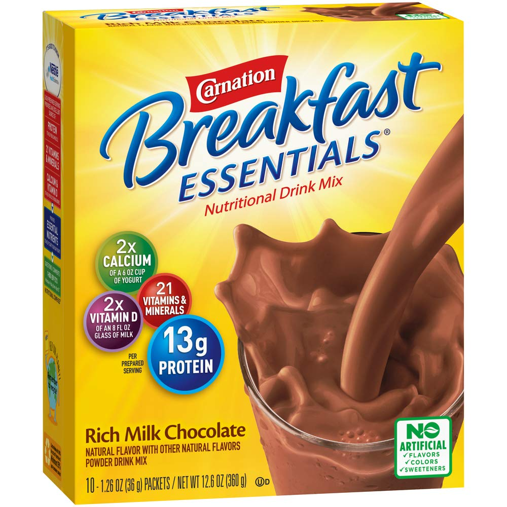 Amazon.com : Carnation Breakfast Essentials Powder Drink Mix, Rich Milk Chocolate, 10 Count Box of 1.26 Ounce Packets (Pack of 6) : Instant Breakfast Drinks : Grocery & Gourmet Food