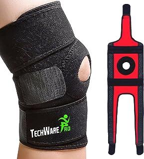 پشتیبانی از بریس زانو TechWare Pro - تسکین ACL ، LCL ، MCL ، پارگی منیسک ، آرتروز ، درد تاندونیت. تثبیت کننده های دوتایی Patella Open Slip Comfort Neoprene. تسمه های قابل تنظیم دو جهته - 4 اندازه