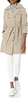 Calvin Klein Women's Double Breasted Belted Rain Jacket with Removable Hood