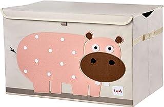 3 Sprouts Coffre à jouets pour enfants - Coffre de rangement pour chambre garçons et filles, Hippo