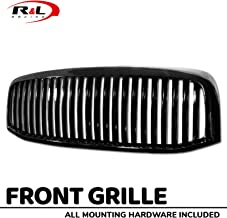 R&L Racing Black Finished Front Grill Vertical Hood Bumper Grille Cover 2006-2009 For Dodge Ram 1500/2500/3500