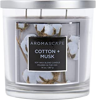 Aromascape 3-Wick Scented Jar Candle, Cotton & Musk