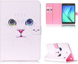Galaxy Tab A 8.0 Durable Cover, Premium Hybrid Leather [Kickstand] Tablet Folio Cover with Card Slots/Cash Holder [Magnetic Closure] Shell for Samsung Galaxy Tab A 8.0 SM-T350/P350, White Kitty