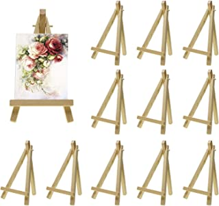 Shapenty 6 Inch Mini Natural Wood Art Craft Photo Business Card Canvas Oil Painting Drawing Display Easel Table Number Tripod Holder Stand, 12PCS