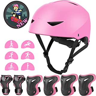 Kids Bike Helmet and Pads Set - Upgraded Protective Gear Set Knee and Elbow Pads Wrist Guards for 4~10yrs Girls Boys Child...