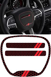 Steering Wheel Emblem Kit Compatible with 2015-2020 Dodge Charger | 3D Domed Badge Overlay Decal Trim Cover Sticker Set | Charger Interior Accessories (Red)