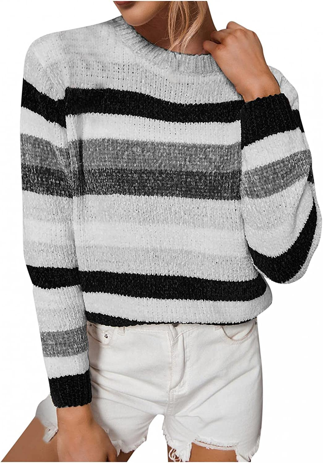 Sweaters for Women,Women's Crew Neck Oversized Long Sleeve Striped Color Block Knitted Sweater Loose Pullover Jumper Tops