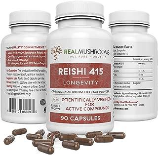 Reishi 415 Longevity Capsules (90ct), 500mg Organic Reishi Mushroom Capsules, Reishi Mushroom Extract, Immune System Booster & Anti Stress Supplement, 45-Day Supply of Reishi Mushroom Supplements