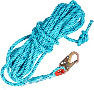 """Palmer Safety Fall Protection 50' Vertical Rope Lifeline with One Locking Snap Hook I 5/8"""" Diameter Co-Polymer Twisted Rop..."""