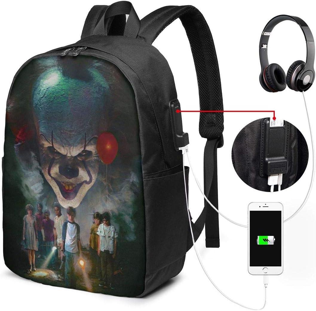 The Dancing Clown Multipurpose Backpack17 in USB School Outdoor Shoulders Laptop Bags Students Knapsack Daypacks Women Men