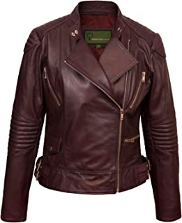 HIDEPARK Wendy: Women's Burgundy Leather Biker Jacket
