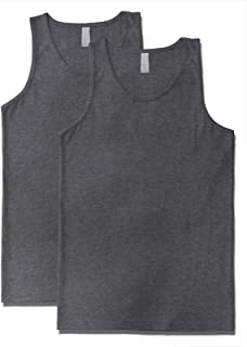 a49f6b733bcec Men s Premium Basic Solid Tank Top Jersey Casual Shirts 2XL H Charcoal ...