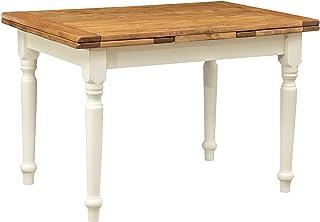 Table extensible en bois de tilleul massif, style country, structure blanche effet vieilli, plateau bois naturel, 120x 80...