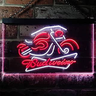 zusme Budweiser Beer Motorcycle Novelty LED Neon Sign White + Red W16 x H12