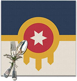 Watercress Jam Placemats Tulsa Flag Table Mats Dining Table Non-Slip Kitchen Heat Stain and High Temperature Resistant for Kitchen Restaurant Coffee Shop-12x12 Inch (Set for 6)