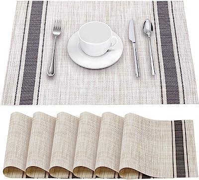 Details about  /Placemats Set of 4 Table Mats Non-Slip Woven Washable Heat Resistant Purple PVC