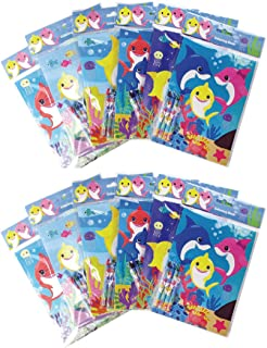 Shark Family Coloring Books with Crayons Party Favors, Set of 12