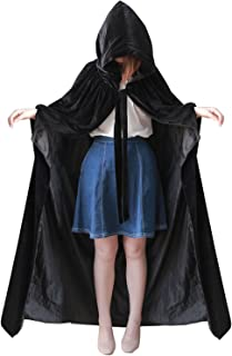 kelaixiang Black Hooded Cape with Arm Hole Velvet Satin Robe Halloween Cloaks Medieval Costume Cosplay