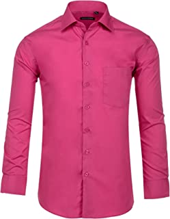 Mens Dress Shirts, Mens Slim Fit Long Sleeve Cotton Poly Casual and Formal Shirts