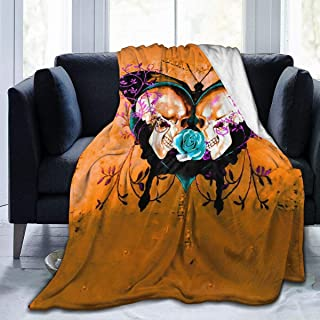 Desconocido Throw Blanket Butterfly Skull Paint Ultra-Soft Micro Fleece Blanket Warm Blanket for Mens Couch Fleece Blanket Lightweight Blanket 60