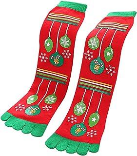 Yvelands Accesorios, Calcetines Navidad con Dedos, Calcetín Media Algodón Casual Suave Cómodo con Estampado de Navidad Fiesta para Mujer Niños Unisex Yvelands A