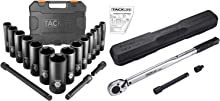 TACKLIFE Impact Socket Set 1/2-inch Drive SAE and Click Torque Wrench 1/2 Inch Drive