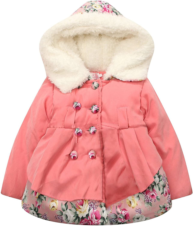 Richie House Little Girls' Double-Breasted Padding Jacket