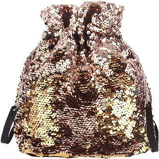 Drawstring Chain Bucket Handbag Sparkling Sequins Clutch Purse Reversible Glitter Shoulder Bag