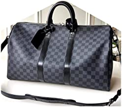 LARGE SIZE 45 cm Stort Duffle Spacious Graphite Checkered Luggage Bag Made of Durable Canvas Material with Leather Straps and Removable Crossbody Strap by JAN RYGLEWICZ