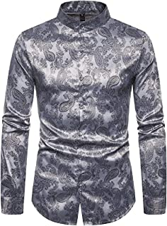 LEISHOP Mens Luxury Long Sleeve Prom Dress Shirt Casual Satin Wrinkle Free Button Down Tops