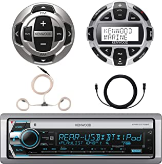 Kenwood Single DIN Marine Boat Yacht USB CD Player Bluetooth Stereo Receiver, Kenwood Digital LCD Display Wired Remote, Kenwood Wired Remote, 22