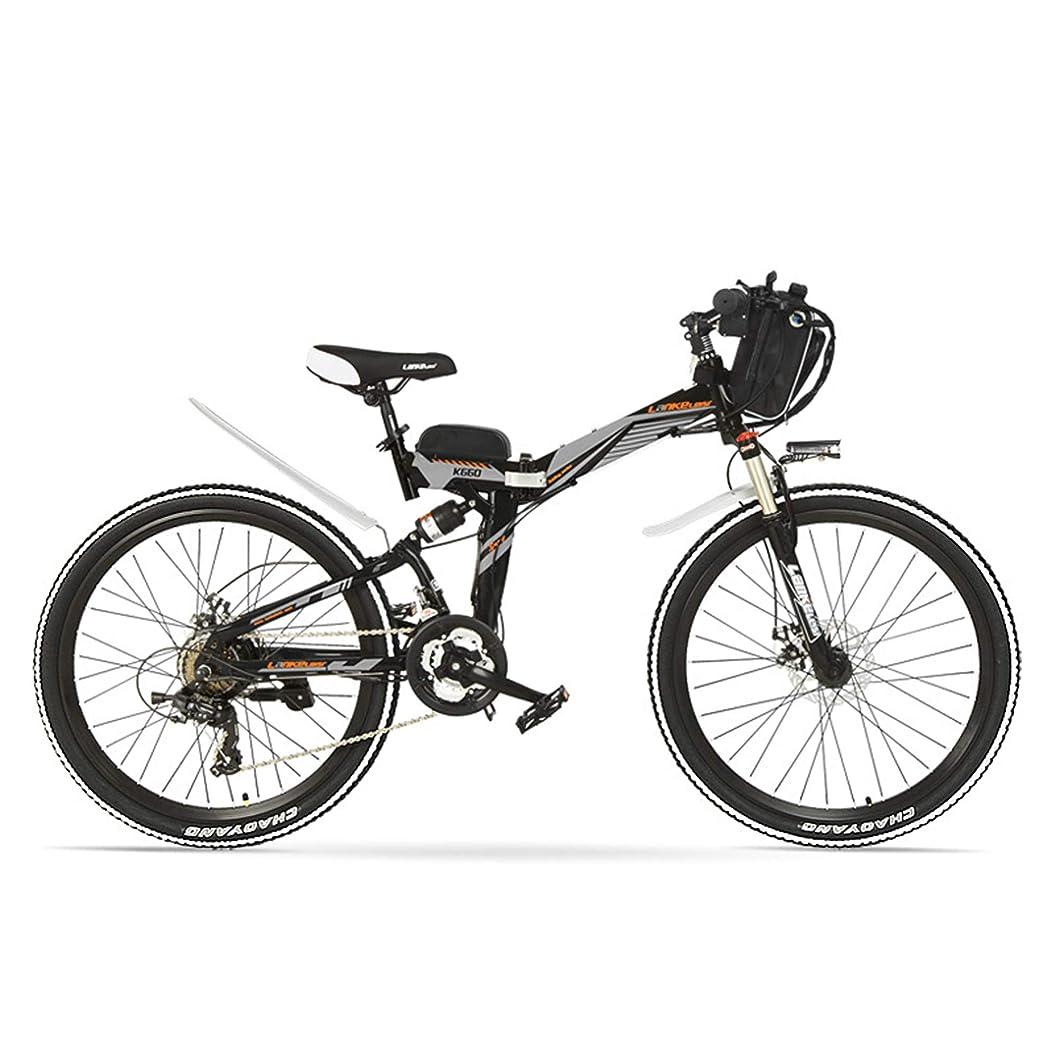 チャーム修復ディレクトリK660 26インチ36V 15A折りたたみマウンテンバイク、強力なモーター、フルサスペンション、高炭素鋼フレーム、駆動補助機付自転車 (ブラックグレー, 500W)
