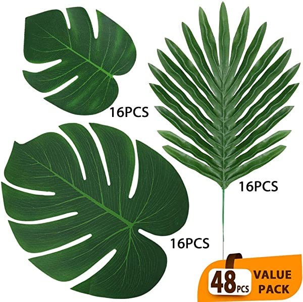 ElaDeco 48 Pcs Artificial Tropical Palm Leaves Luau Party Decoration Faux Palm Leaves Safari Leaves For Hawaiian Luau Party Jungle Beach Birthday Theme Decorations 3 Styles