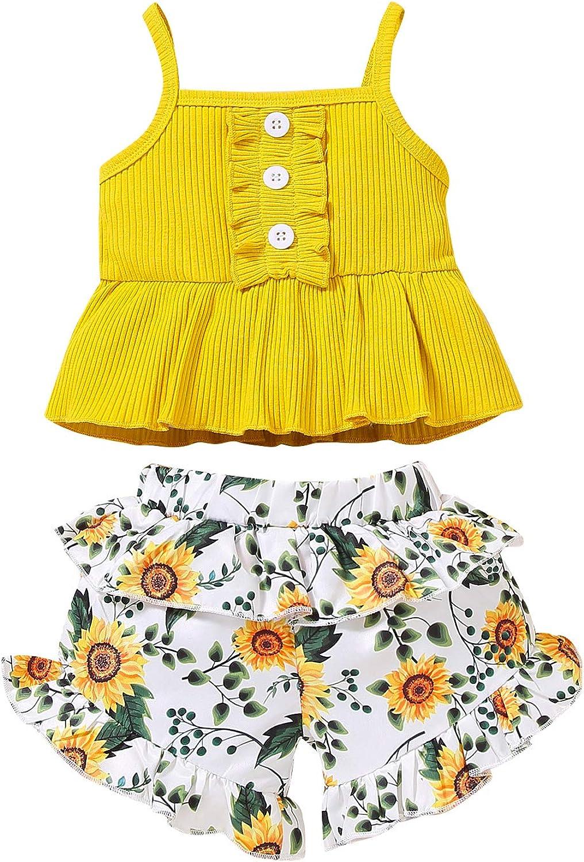 2Pcs Toddler Baby Girl Shorts Set Ruffle Strap Top and Short Pan