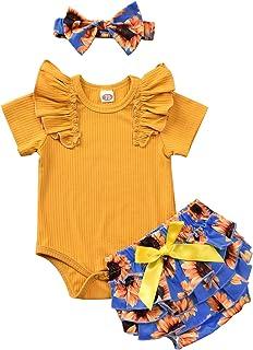 T TALENTBABY Neugeborenes Baby-Kleidungsset Kurzärmlige T-Shirt-Oberteile  Blumenhose mit Rüschen  Bowknot-Stirnband 3-teiliges Bodysuit-Strampler-Kleidungsset