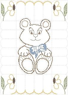 Fairway 92617 Stamped Baby Quilt Top, 36 x 50-Inch, Teddy Bear