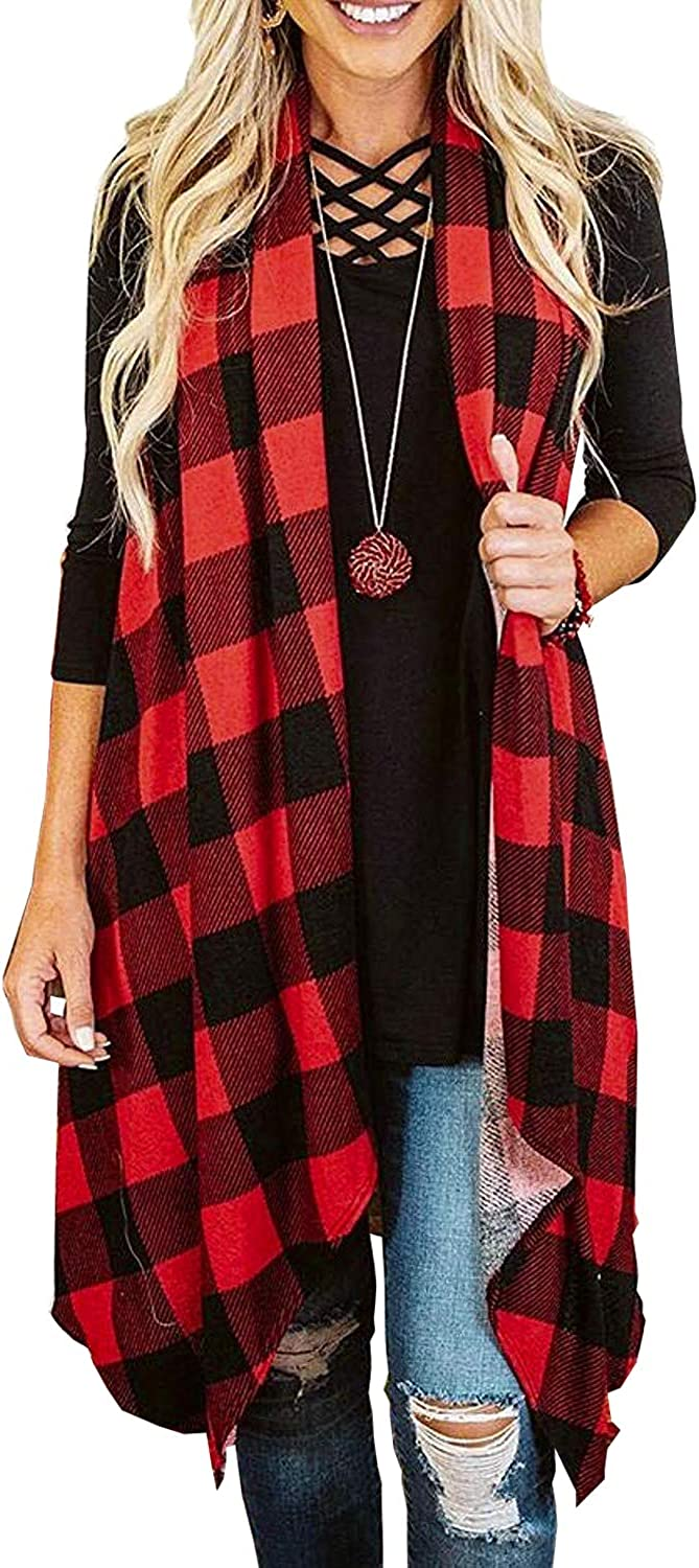Womens Batwing Sleeve Oversized Plaid Kimono Cardigans Casual Coat Tops Outwear