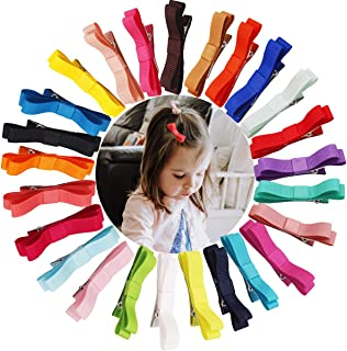 50PCS/25Pairs Baby Hair Clips 2.36Inch Grosgrain Ribbon Tiny Hair Bow Alligator Hair Clips Fully Lined for Fine Hair Infan...