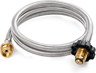 GASPRO 5FT Stainless Braided Propane Hose Adapter 1lb to 20lb, Propane Tank Gas Stove Hose Converter Replacement Parts for Coleman Camp Stove Buddy Heater to LP Cylinder POL Connection