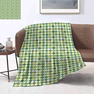Luoiaax Plaid Comfortable Large Blanket Traditional Argyle Pattern in Pastel Green Tones Checkered Striped Classical Design Microfiber Blanket Bed Sofa or Travel W70 x L70 Inch Multicolor